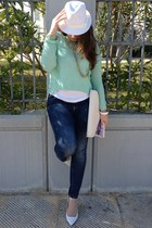 white Bershka hat - navy Zara jeans - light blue H&M sweater - white Bershka bag