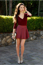 crimson awwdore skirt - gold Dailylook boots - dark brown Dailylook bag