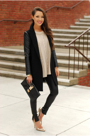 black Sheinside coat - cream Choies sweater