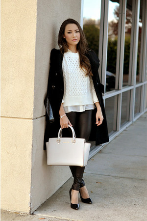black Guess coat - cream Michael Kors bag - beige Anne Klein watch