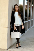 black Guess coat - cream Michael Kors bag - beige Anne Klein watch