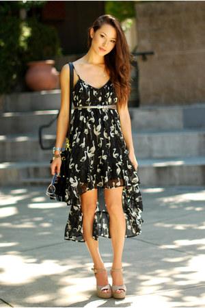 black Billabong dress - black Nasty Gal bag - camel Steve Madden heels