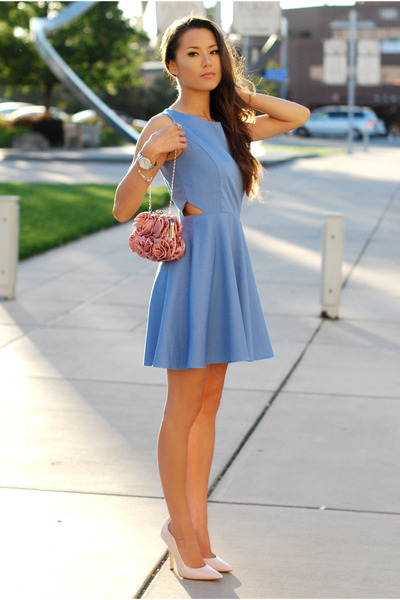 periwinkle Vivat Veritas dress - pink Lulus Townsend bag