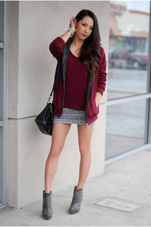 crimson BangGood jacket - heather gray Zara boots - black romwe bag