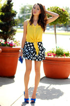 yellow shopakira top - navy skirt - blue Zara heels