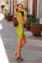 chartreuse Dress The Population dress - gold Dailylook heels