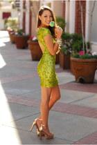 chartreuse Dress The Population dress - gold Dailylook heels