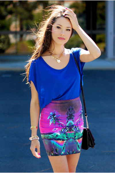 blue Forever 21 top - deep purple Aldo bag - amethyst Motel Rocks skirt