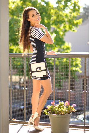 black Express bag - black Topshop dress - white Nasty Gal heels