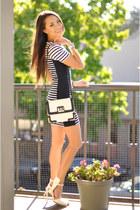 black Express bag - black Topshop dress - white Nasty Gal heels
