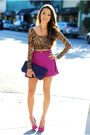Purple-heather-belle-co-bag-hot-pink-aldo-heels-light-brown-minkpink-top