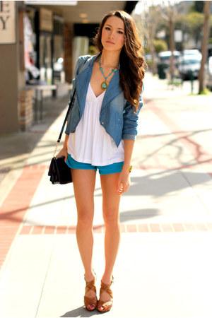 blue Forever 21 jacket - turquoise blue Forever 21 shorts