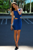 blue Love dress - blue big buddha bag - black Cathy Jean heels