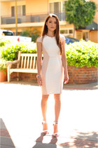 light pink Bebe dress - light pink Express skirt - white asos heels