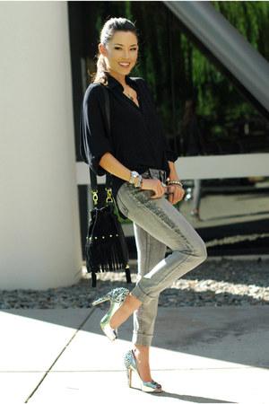 black Style Sofia shirt - silver Bebe jeans - silver sam edelman heels