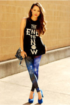 black PacSun shirt - blue Poprageous leggings - blue pink and pepper heels