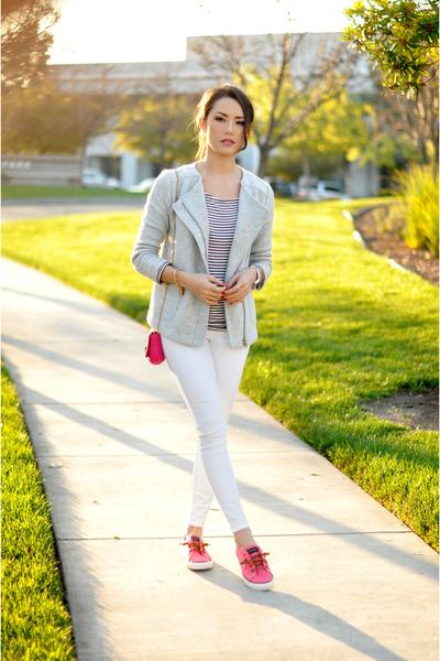 hot pink Juicy Couture bag - heather gray banana republic jacket
