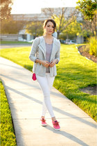 hot pink Juicy Couture bag - heather gray banana republic jacket