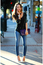 black Simply Audrey top - navy David Kahn jeans