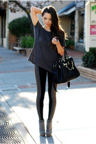 heather gray Zara boots - black Hale Bob leggings - charcoal gray LAMixx shirt