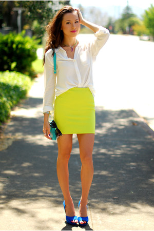 chartreuse Forever 21 skirt - blue Zara heels - white Old Navy top