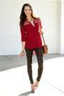 Dark-brown-nasty-gal-jeans-ruby-red-pink-ice-top