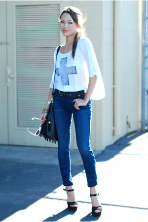 white furor moda top - navy Kasil Workshop jeans - black Nasty Gal bag