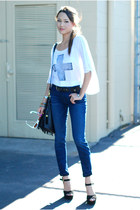 44fcfa813c4d white furor moda top - navy Kasil Workshop jeans - black Nasty Gal bag
