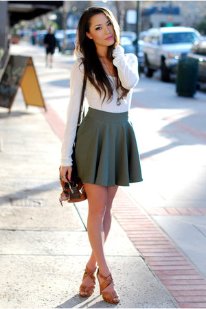 olive green Chicwish skirt - brown Dailylook bag - white romwe t-shirt