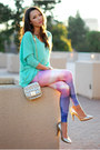 Amethyst-lovely-sally-leggings-aquamarine-plndr-top-gold-vince-camuto-heels