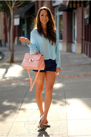 light blue Queens Wardrobe top - light pink OASAP bag - navy PacSun shorts