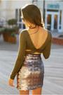 Tawny-chicwish-coat-olive-green-lulus-top-tan-sophia-james-skirt