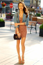 periwinkle Forever 21 jacket - tan Charlotte Russe dress