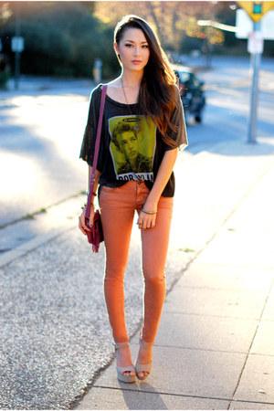 gray PacSun top - burnt orange PacSun jeans - magenta CNP Bags bag