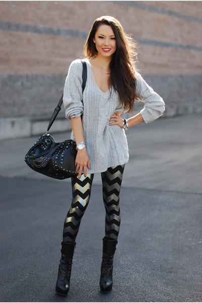 insane jungle sweater - Bebe boots - romwe bag - blackmilkclothing pants