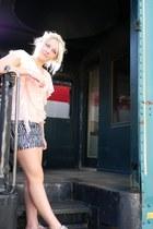 black zebra Forever 21 shorts - light pink ruffles Dear Lizzie blouse