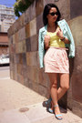 Aquamarine-studded-zara-jacket-light-yellow-tank-bcbg-top