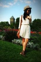 cream silk T Babaton dress - brown studded cowboy Kvoll boots