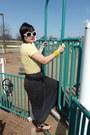 Light-yellow-shirt-black-polka-dot-maxi-skirt-black-sandals