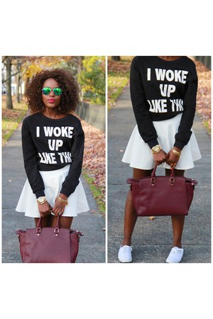 black kohls sweater - white Forever 21 skirt