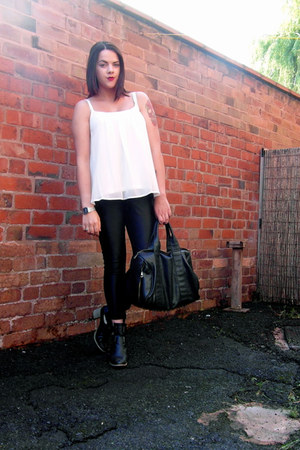 black Missguided boots - white camisole top Matalan vest