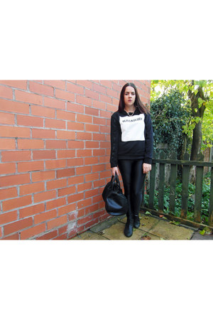 black Zara sweater - black aa pants