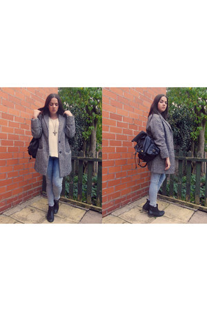 heather gray Matalan coat - sky blue asos jeans - beige Matalan jumper