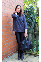 navy turtleneck Zara jumper - black disco pants aa pants