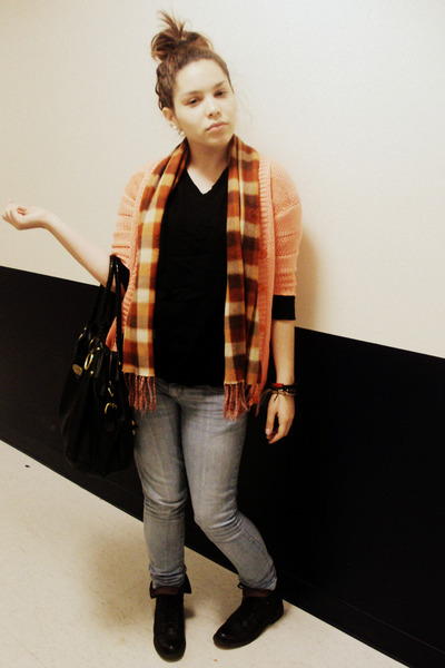 black Lucky Brand shoes - Charlotte Russe jeans - black Gap sweater - orange swe