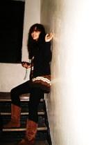 H&M leggings - Gap sweater - H&M dress - Pepper boots