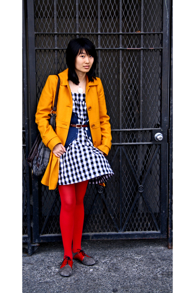 gold Tulle coat - blue Play by C Ronson vest - white kimchi & blue dress - red A