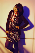 black Japanese brand dress - black Forever 21 cardigan - blue le chateau tights