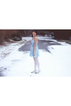 blue H&M dress - white tights - white Jennifer Taylor shoes