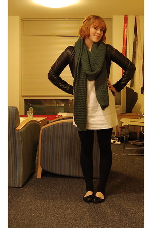H&M scarf - H&M jacket - Gap via Buffalo Exchange dress - Pink Zone tights - Tar